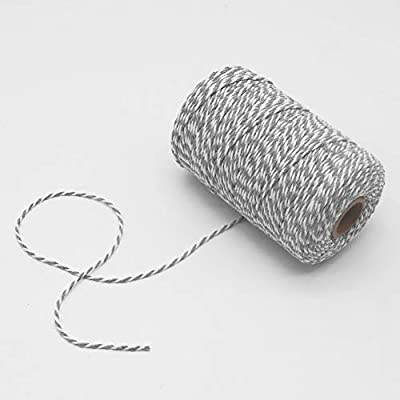 Tenn Well Grey and White Twine, 656 Feet 2mm Striped Cotton Bakers Twine for Baking, Crafting, Packing, Christmas Gift Wrapping : Office Products