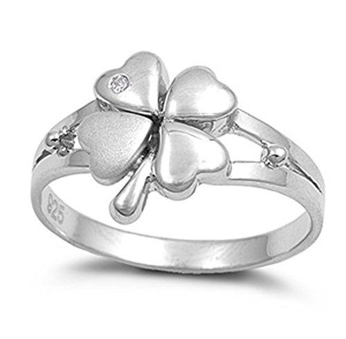 (Sterling Silver Women's Lucky 4 Leaf Clover Ring Beautiful 925 Band Size 6)