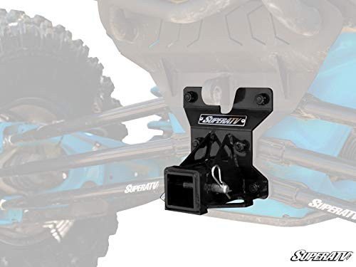 SuperATV Heavy Duty Rear Receiver Hitch for Can-Am Maverick X3 (2017+) - Black - Fits Standard 2 Attachments