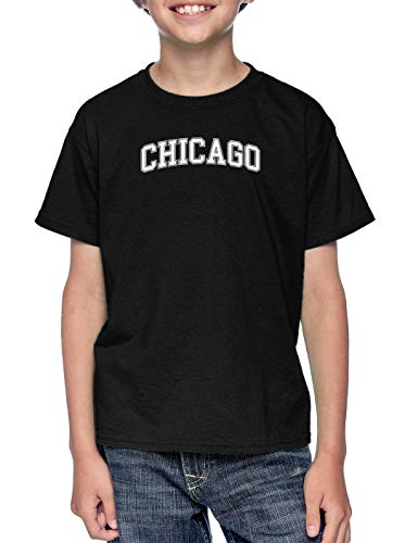 HAASE UNLIMITED Chicago - State Proud Strong Pride Youth T-Shirt (Black, X-Small) -