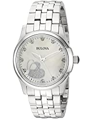Bulova Womens Quartz Stainless Steel Casual Watch, Color:Silver-Toned (Model: 96P182)