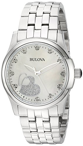 Bulova Women's Quartz Stainless Steel Casual Watch, Color:Silver-Toned (Model: 96P182)
