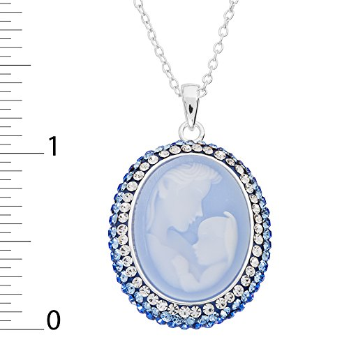 Diamoness Mother and Child Sterling Silver Crystal Cameo Pendant Necklace, 18'' by Diamoness (Image #2)