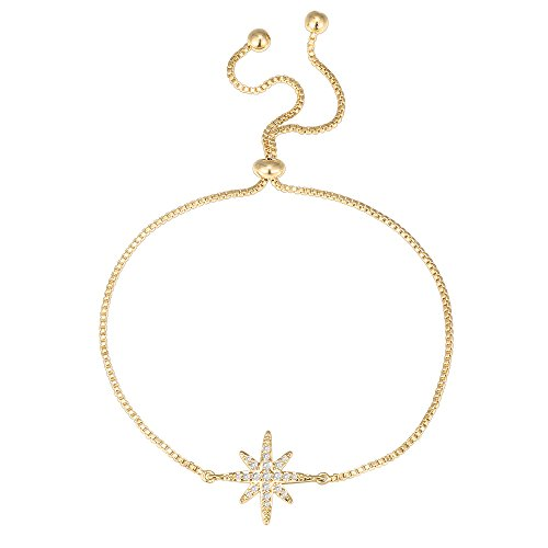 PAVOI 14K Yellow Gold Plated Star Celestial Adjustable Bracelet (Yellow Starburst 14k Gold)
