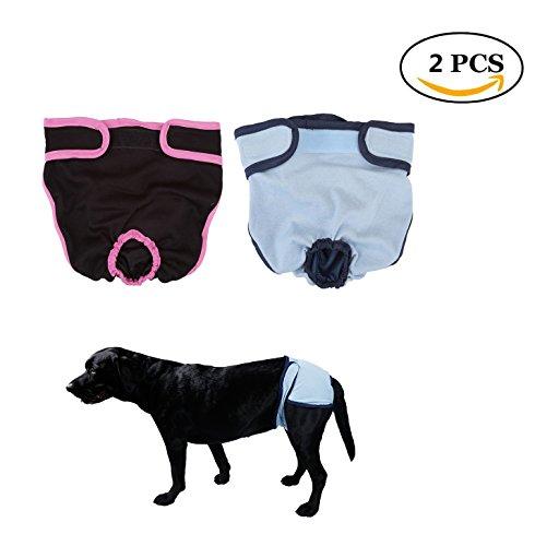 Mogoko 2PCS Dog Diapers Pants, Pet Dog Panty Brief Bitch In Season Sanitary Pants for Girl Female, Pet Underwear Diapers