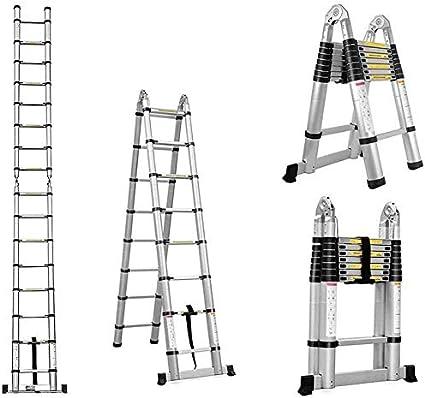 Alu Teleskopleiter Ausziehbare Leiter Haushaltsleiter 150 kg Belastbarkeit Ausziehleiter Mehrzweckleiter Klappleiter Stehleiter Rutschfester 2.5+2.5M 5M