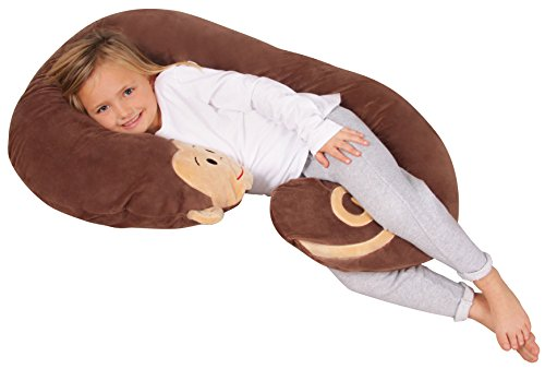 Leachco Snoogle Jr. - Luxuriously Soft Plush Monkey with Zippered Removable Cover - The Snuggle, Cuddle, Animal Body Pillow for Kids