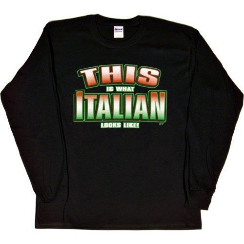 MENS L/S T-SHIRT : BLACK - L - This is What Italian Looks Like - Ethnic -