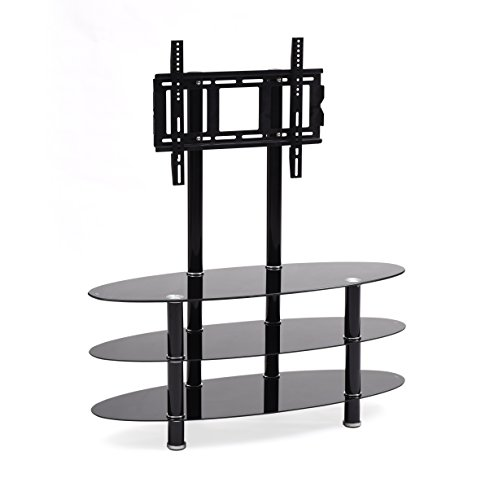 Hodedah TV Stand with Mount & Three Oval Tempered Glass S...