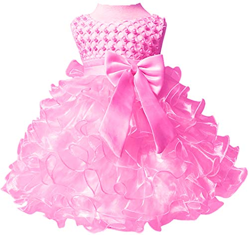 Baby Girl Party Dresses Ruffle Lace Pageant Wedding Flower Little Girl Dress Pink 6 Months]()