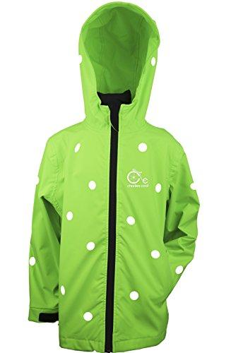 Charlies Coat Big Girls Reflective Polka Dots Waterproof Jacket XL Neon Green