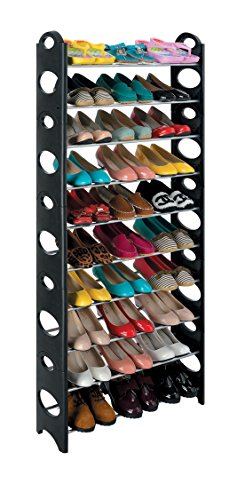 Ten Tier Stackable Shoe Rack that holds up to 30 Pairs of Shoes - Rolling Shoes Jordan