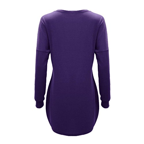 Tops Longues Femmes Blouse Violet VJGOAL T Automne DContract Tops Ray O Long Shirt Ray Manches LGer Cou 6nxqxTBCYw