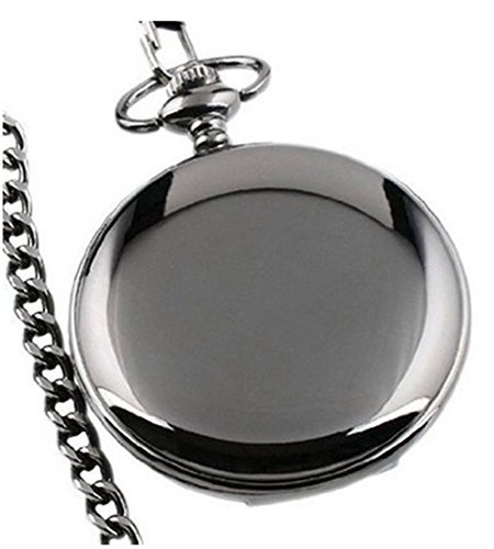 Tirio Mens Black Smooth Stainless Steel Case White Arabic Numbers Modern Pocket Watch Comes with Gift Box