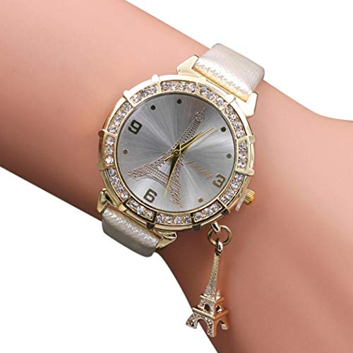 Redvive Women Quartz Wrist The Eiffel Tower Rhinestone Pendant Analog Quartz Vogue Ladies Wrist Watch. (White)