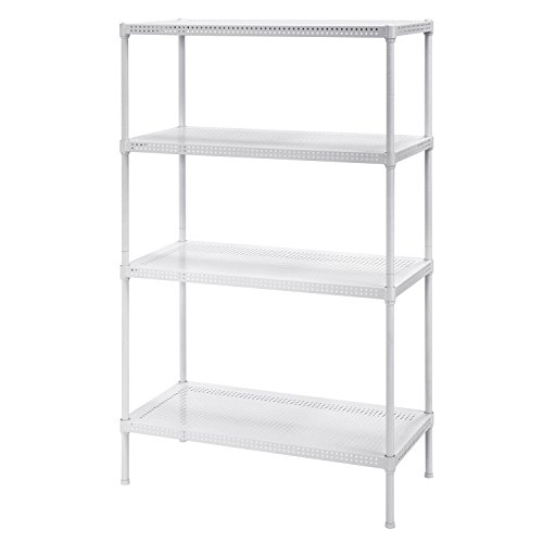 Muscle Rack PWS301447-4W Steel Wire Shelving, 4 Adjustable Shelves, 330 lb Per Shelf Capacity, 47 Height x 30 Width x 14 Depth, White