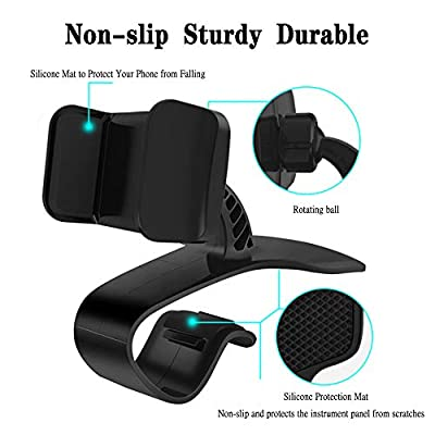 Wellbuy Car Phone Holder 360-Degree Rotation Cell Phone Holder Suitable for 4 to 7 inch Smartphones,Rotating Dashboard Clip Mount Stand