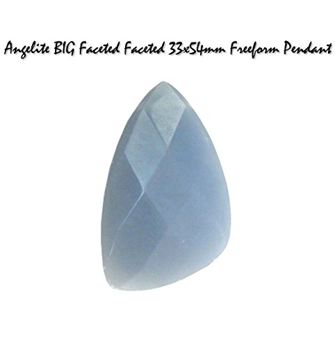 Genuine Angelite BIG Faceted 33x54mm Freeform Gemstone Pendant Bead for Jewelry Making (Bead Freeform Pendant Turquoise)
