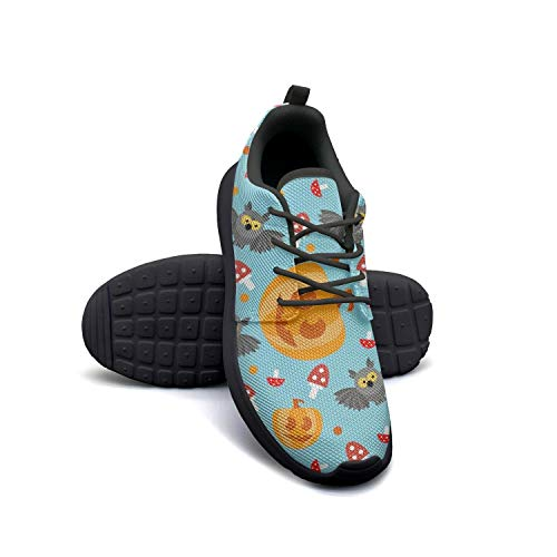 (Halloween owl Pumpkin Sky Blue Breathable Sneaker Young Women Lace Up Classic Rubber Tennis)