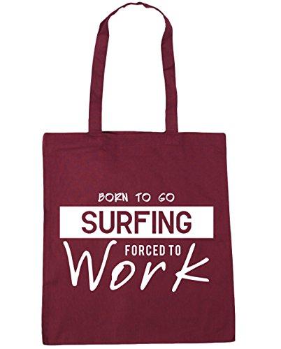 HippoWarehouse Born to go Surf obligado a trabajar bolsa de compras bolsa de playa 42cm x38cm, 10litros granate