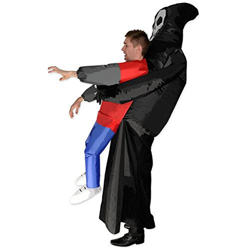 Inflatable Grim Reaper Halloween Scary Skeleton Fancy Dress Cosplay Costume, Multi, One Size