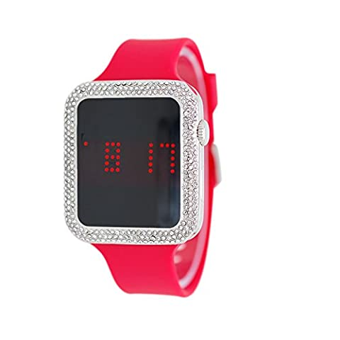 Techno Pave Iced Out Lab Diamond Square Silver Digital Touch Screen Sports Watch with Red Silicone (Iced Out Square Watch)