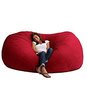 Giant Memory Foam Bean Bag Chair Vibrant Red 7 Foot XXL Microfiber Suede Material Game Room Dorm Room Cozy and Comfortable Rest and Relax by FufSack