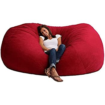 Amazon Com Giant Memory Foam Bean Bag Chair Vibrant Red 7