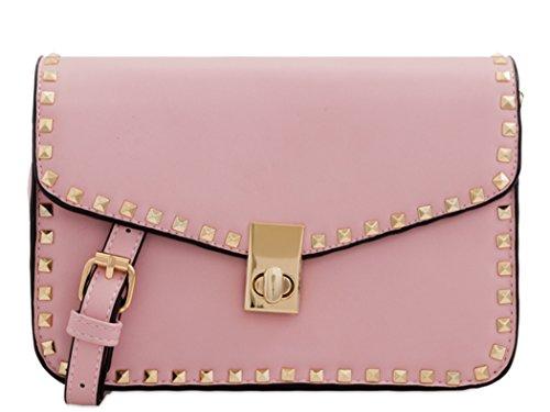 LeahWard Women's Studded Cross Body Bags Shoulder Handbag 255 Pink Shoulder Bag