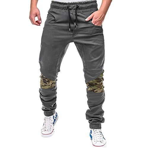 HTHJSCO Men Athletic Gym Fitness Sweatpants Joggers Pants with Cargo Pockets (Gray, L) by HTHJSCO