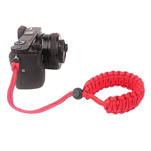 FoRapid Braided 550 Paracord Adjustable Camera Wrist Strap / Bracelet for Mirrorless Compact System DSLR Cameras, Binoculars (Red)