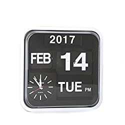 Homeloo Fartech Retro Modern 12 Inches Calendar Auto Flip Desk Wall Clock (White)