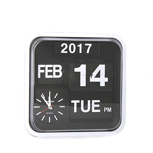 Retro Calendar Wall Clock - Homeloo Fartech Retro Modern 12 Inches Calendar Auto Flip Desk Wall Clock (White)