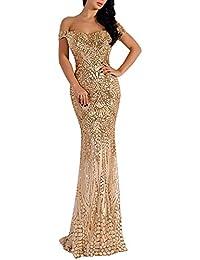 Women Bra Sequin Maxi Evening Party Dress