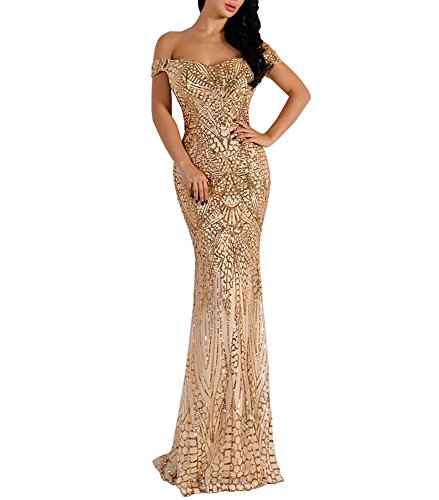 Gold Party Dress - LinlinQ Women Bra Sequin Maxi Evening Party Dress Gold s