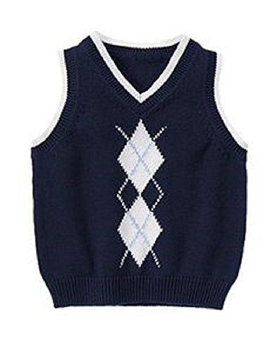 Navy Blue Argyle Sweater - 7