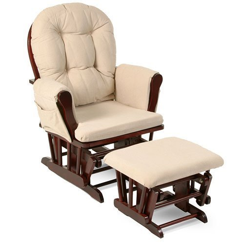 Beige Bowback Nursery Baby Glider Rocker Chair with Ottoman, Beige Cushions - Cherry Finish - Padded Arms - Baby Rocker Nursery Furniture - These Wooden Baby Rocking Chairs Are Built with Exceptional Quality! #1 Rated!