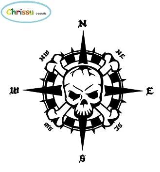 Generic Kompass Totenkopf Aufkleber 20x20cm Windrose Aufkleber Für Biker Caravan Wohnmobil Wohnwagen Auto Oder Als Wand Tattoo 355 Schwarz Glanz