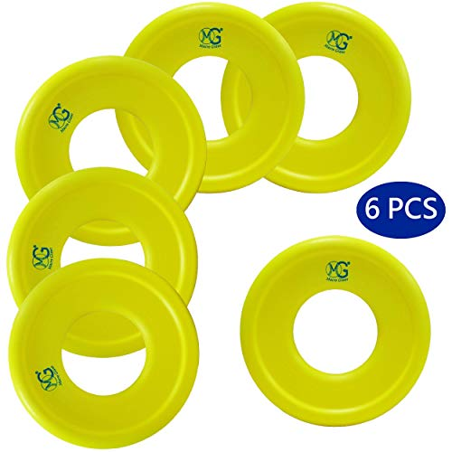 Macro Giant 9 Inch Soft Foam Frisbee Flying Discs, Set of 6, Neon Yellow, Ring Toss Game, Camp Game, Parenting Activity, Kid Toy Gift, Business Stuff, Indoor Outdoor Game