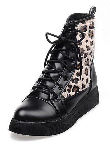 Redonda Uk6 Brown Negro Eu39 Xzz De 5 A Punta 5 La Zapatos Casual Marrón us8 Vestido Plataforma Moda Mujer Cn40 Botas Semicuero OOXFWnHZqU