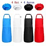 8 Pieces Kids Chef Hat Apron Set, Boys Girls Adjustable Cotton Aprons Kitchen Bib Aprons with 2 Pockets for Kitchen Cooking Baking Wear (Black, White, Red, Blue)