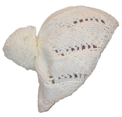 Papillon Hand Knit Solid Color Twist Knit Winter Beret W/Large Pom Pom(One Size) - White