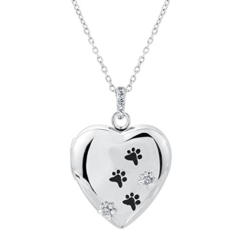 ASPCA TenderVoices Diamond Paw Print Heart Locket 1/20ctw