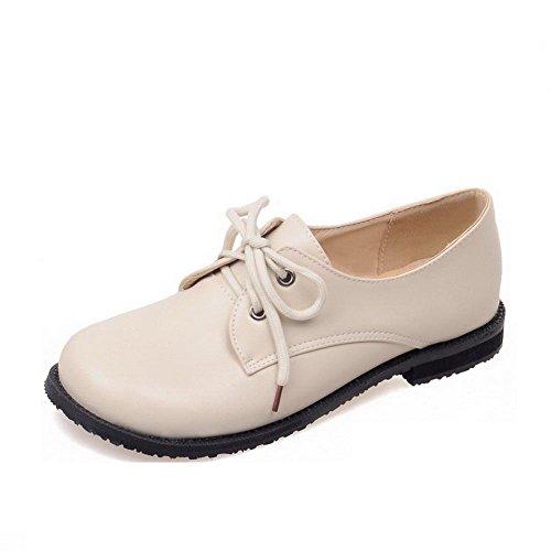 Allhqfashion Dames Ronde Dichte Teen Vetersluiting Pu Stevige Lage Hakken Pumps-schoenen Beige