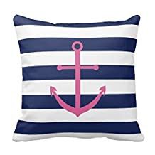 Navy Blue And Pink Anchor Pillow Covers 18 x 18
