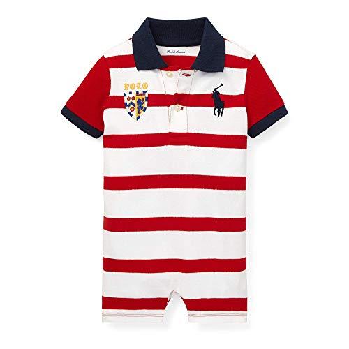 - Ralph Lauren Baby Boys Striped Cotton Polo Shortall (Rl2000 Red Multi, 3 Months)