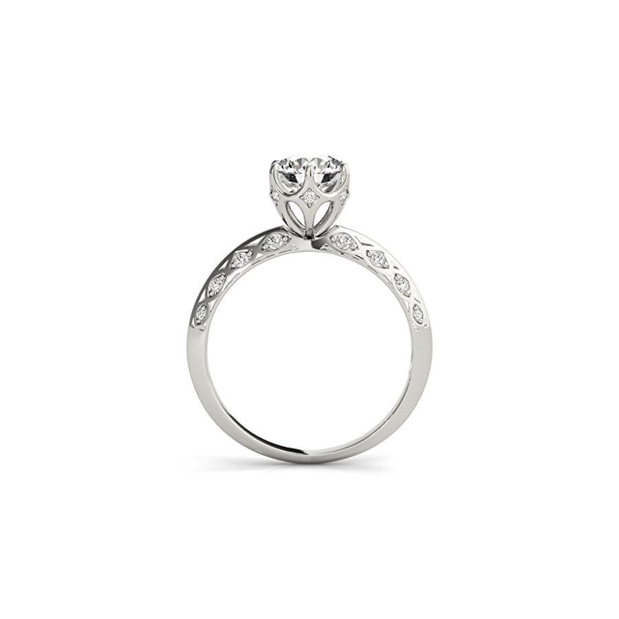 0.75 Ct. Ttw Halo Diamond Engagement Ring 14K White Gold