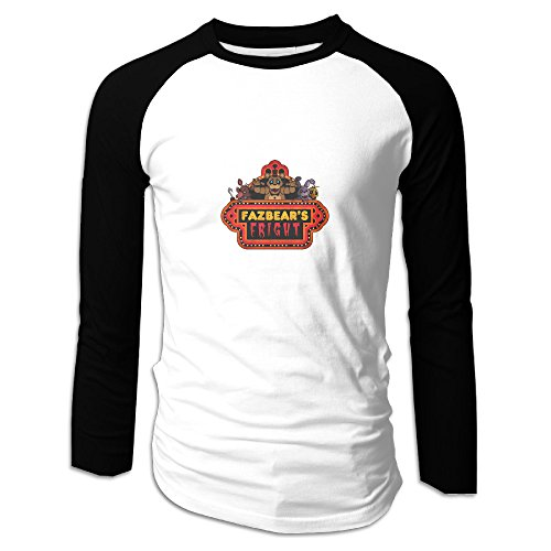 Five Nights At Freddy Adult Graphic Raglan Baseball Long Sleeve T Shirt Black Size L