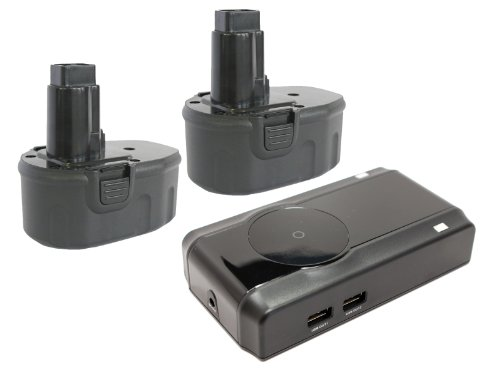 2-Pack DeWalt 14.4V Battery + Charger Replacement - Compatible with DeWalt DC9091, DC730KA, DW9091, DCD920KX, DW935, DW954, DW9094, DCD930KX, DW906, DC728KA, DCD930, DC528, DC984, DC733KL, DC835KA, DC830KB, DC735KB, DW055K-2, DC757KA (2000mAh, NICD)
