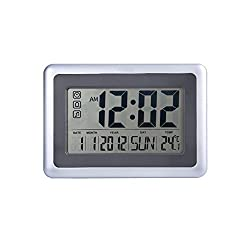 "OCEST Digital Alarm Wall Clock Large Display 7.5"" LCD Screen with Date Time Indoor Temperature Alarm Function Easiest Set"